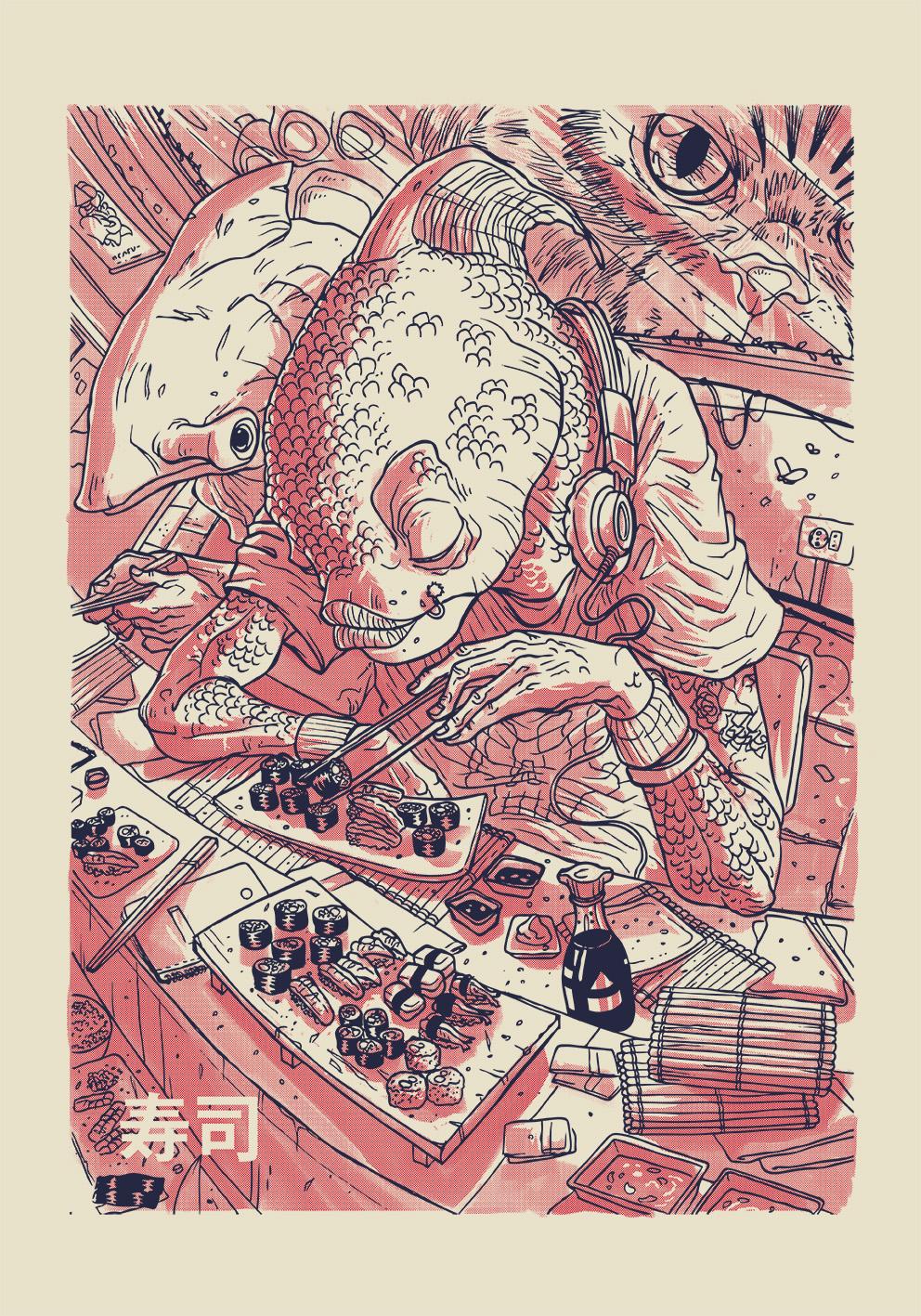 Sushi screen printed poster